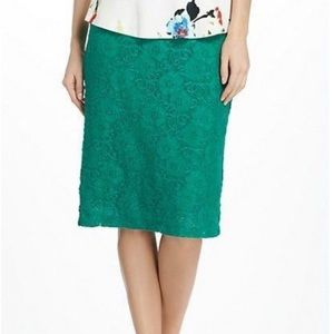 Anthro Maeve Elastic Waist Green Lace Midi Skirt